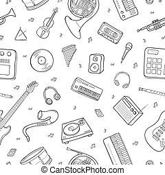 symboles, elements., instruments, modèle, seamless, objets, divers, musical