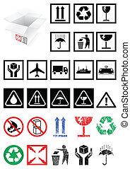 symboles, emballage, ensemble, labels.