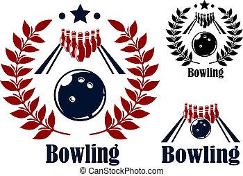 symboles, emblèmes, bowling