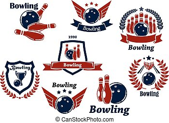 symboles, emblèmes, bowling, sports