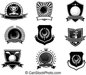 symboles, emblèmes, ensemble, golf, sports