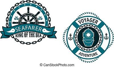 symboles, emblèmes, nautique, themed