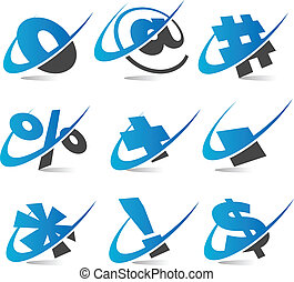 symboles, ensemble, 5, swoosh