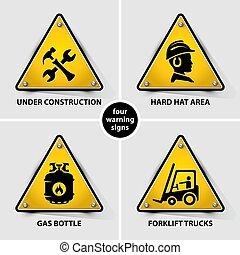 symboles, ensemble, avertissement, jaune