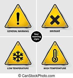 symboles, ensemble, avertissement
