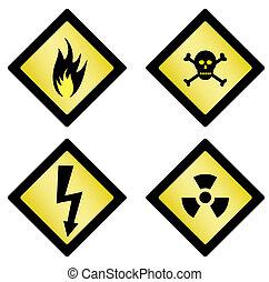 symboles, ensemble, danger