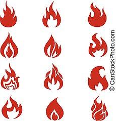 Symboles, ensemble, Flammes, icônes, brûler, vecteur, rouges
