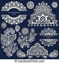 symboles, ensemble, indien, décoratif