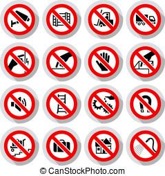symboles, ensemble, interdit, icônes