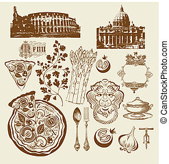 symboles, ensemble, italien