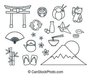 symboles, ensemble, japonaise