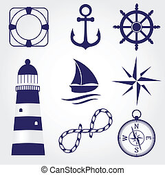 symboles, ensemble, marin