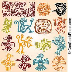 symboles, ensemble, mexicain, -