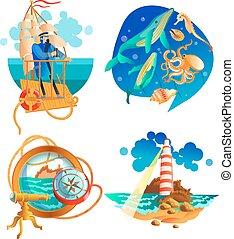 symboles, ensemble, océan, mer, nautique
