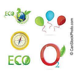 symboles, ensemble, résumé, écologique