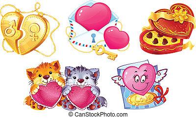 symboles, ensemble, romantique, jour, valentin's