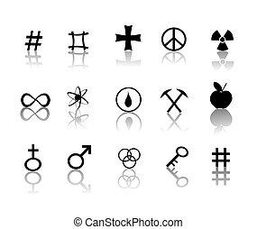 symboles, ensemble, signes, icônes