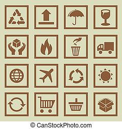 symboles, ensemble, signes, vecteur, paquet