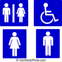 symboles, ensemble, toilettes