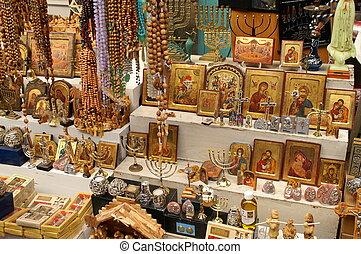 symboles, est, jérusalem, chrétien, marché
