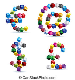symboles, fait, blocs, coloré, signes