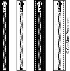 symboles, fermeture éclair, blanc, vecteur, noir