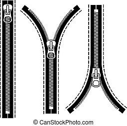 symboles, fermeture éclair, vecteur, noir