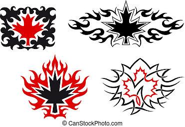symboles, feuilles, emblèmes, érable