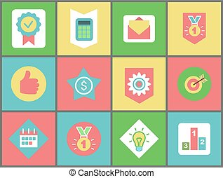 symboles, finance, bureau, icônes toile, business