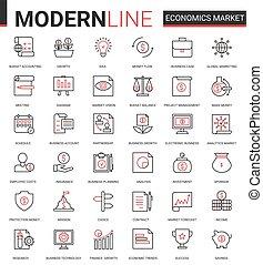 symboles, finance, données, ensemble, plat, commercialisation, stockage, technologie, icône, vecteur, compte, ligne, banque, analyse, illustration, marché, économie, recherche, banque