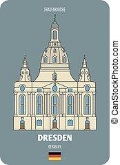 symboles, frauenkirche, villes, germany., dresde, architectural, européen