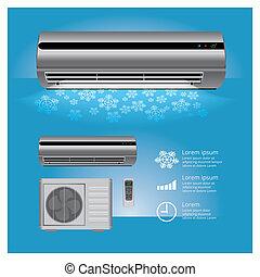 symboles, froid, vecteur, air, réaliste, contrôle, climatiseur, illustration, éloigné