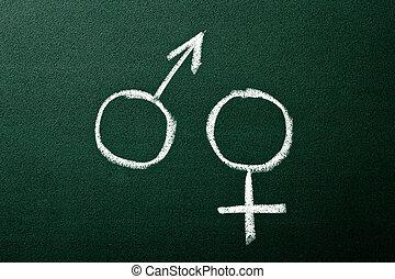 symboles genre, sur, vert, tableau noir