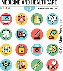 symboles, graphique, prime, contour, icônes, set., moderne, illustration, créatif, médecine, healthcare, vecteur, plat, icons., quality., concepts, ligne, mince