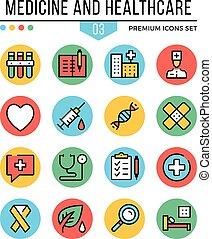 symboles, graphique, prime, contour, icônes, set., moderne, illustration, médecine, healthcare, vecteur, plat, icons., quality., concepts, ligne, mince