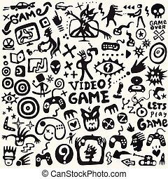 symboles, griffonnage, vidéo, ensemble, vecteur, graphique, jeux