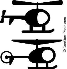 symboles, hélicoptère, vecteur, noir