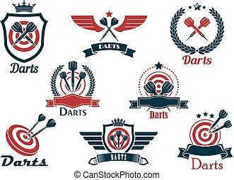 symboles, héraldique, dards, emblèmes, sports
