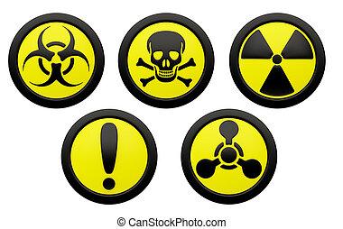 symboles, hazard., icônes