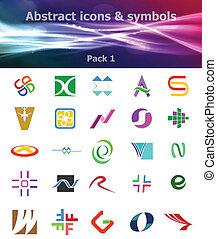 symboles, icônes, résumé, &, 1, meute