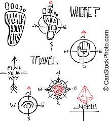 symboles, illustrations, voyage, vecteur