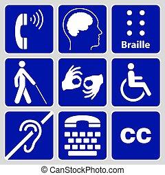 symboles, incapacité, collection, signes