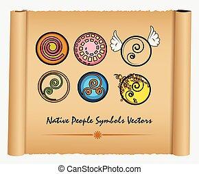 symboles, indigène, divers, gens