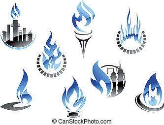 symboles, industrie, huile, essence