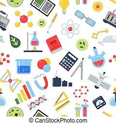 symboles, isolated., modèle, seamless, chimique, équipement, vecteur, medicine., science