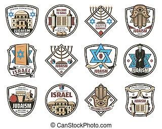 symboles, israël, judaïsme, icônes, juif, religion