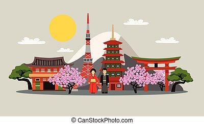 symboles, japon, affiche, plat, composition