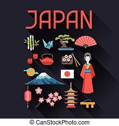 symboles, japon, set., icônes