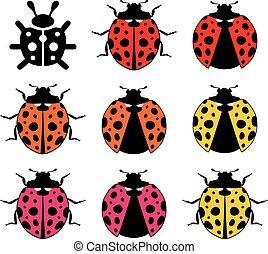 symboles, ladybirds, vecteur, plat