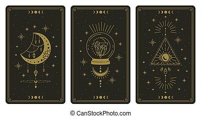 symboles, lecteur, spirituel, cristal, vecteur, cartes, magie, occulte, ésotérique, tarot, lune, ensemble, illustration, oeil, cartes., magique, boho
